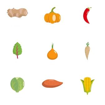 Conjunto de iconos de vegetales. conjunto plano de 9 iconos vegetarianos