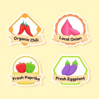 Conjunto de iconos de vegetales frescos orgánicos
