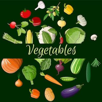 Conjunto de iconos de vegetales grandes.