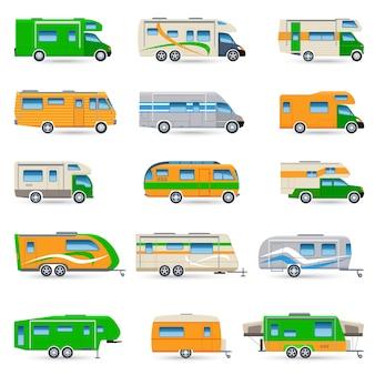 Conjunto de iconos de vehículos recreativos