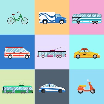 Conjunto de iconos de vehículos urbanos de la ciudad. coche y trolebús, bicicleta y moto, autobús y policía