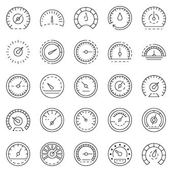 Conjunto de iconos de velocímetro. esquema conjunto de iconos de vector de velocímetro