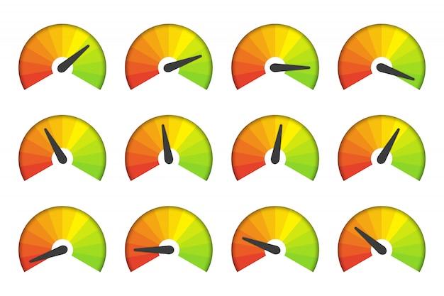 Conjunto de iconos de velocímetro de medición sobre un fondo blanco