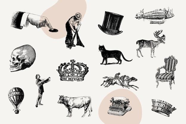 Conjunto de iconos de la vendimia