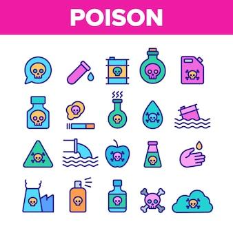 Conjunto de iconos de veneno tóxico químico