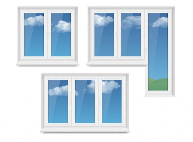 Conjunto de iconos de ventana de plástico blanco realista