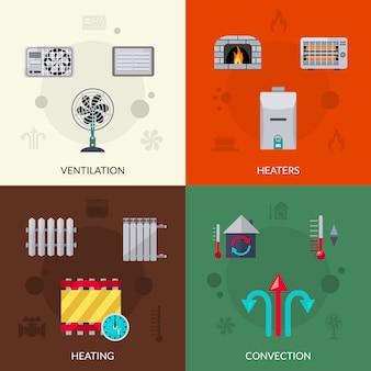 Conjunto de iconos de ventilación y convección de calefacción
