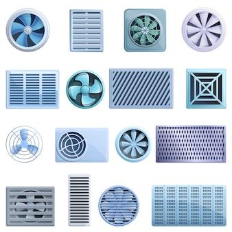Conjunto de iconos de ventilación, estilo de dibujos animados