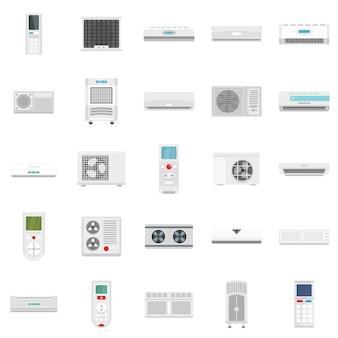 Conjunto de iconos de ventilación de filtro de aire de acondicionador