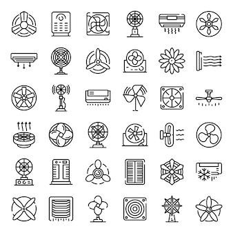Conjunto de iconos de ventilador, estilo de contorno