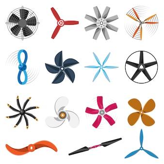 Conjunto de iconos de ventilador de hélice.