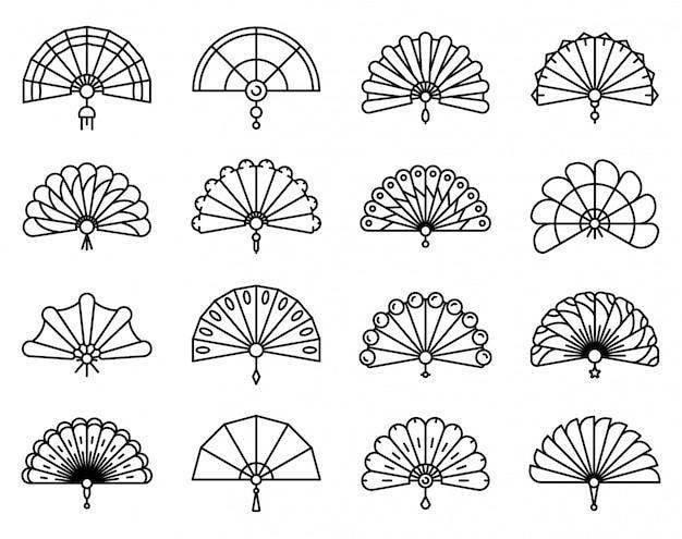 Conjunto de iconos de ventilador de mano, estilo de contorno