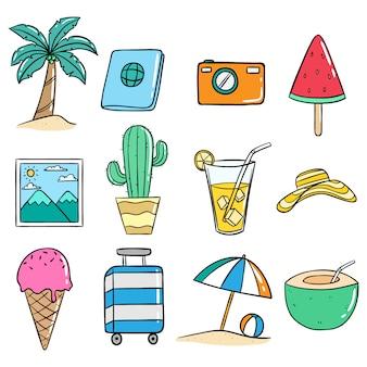 Conjunto de iconos de verano doodle lindo o ilustración