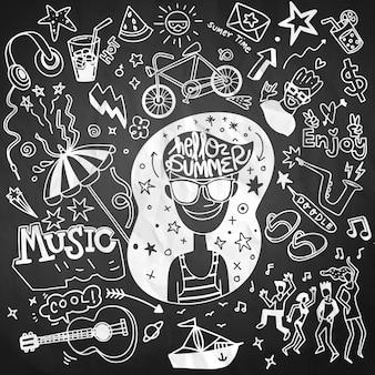 Conjunto de iconos de verano y elementos de diseño