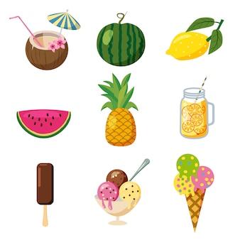 Conjunto de iconos de verano lindo tropical, frutas, helados cocktailes tropicales estilo de dibujos animados, aislado