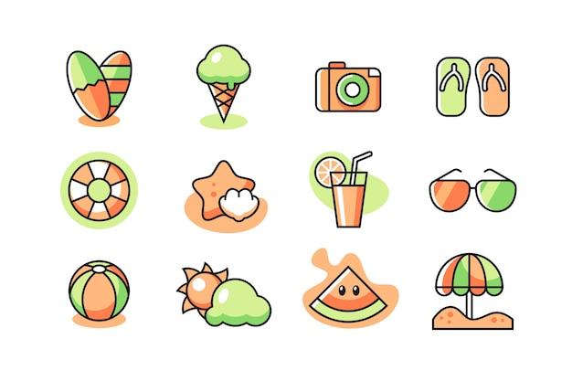 Conjunto de iconos de verano