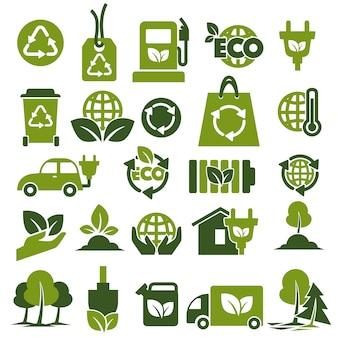 Conjunto de iconos verdes temáticos de protección del medio ambiente y reciclaje