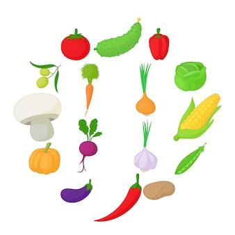 Conjunto de iconos de verduras, estilo de dibujos animados