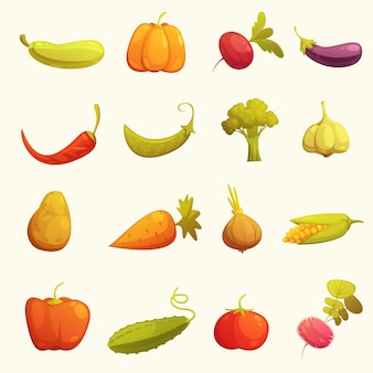 Conjunto de iconos de verduras plana retro