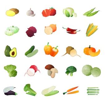 Conjunto de iconos de verduras poligonales