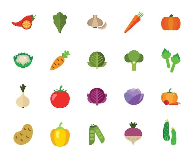 Conjunto de iconos de verduras
