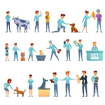Conjunto de iconos veterinarios, estilo de dibujos animados