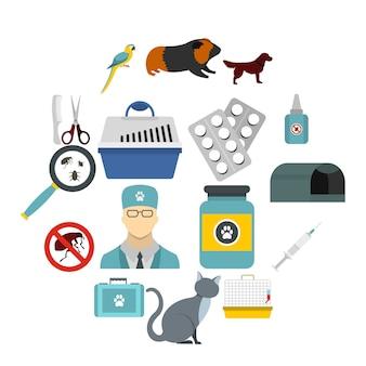 Conjunto de iconos veterinarios, estilo plano.