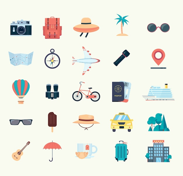 Conjunto de iconos para viajar. ilustración de vector plano aislado sobre fondo blanco