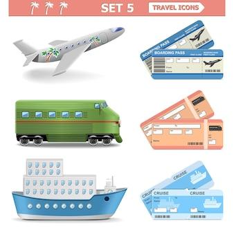 Conjunto de iconos de viaje aislado en blanco