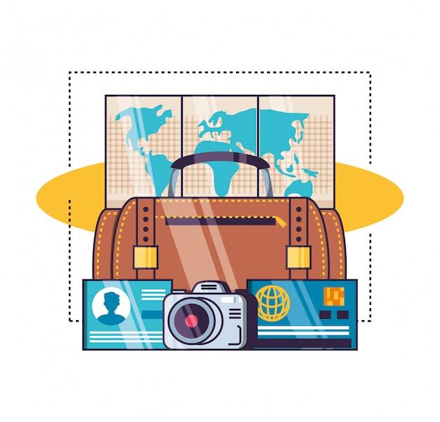 Conjunto de iconos de viaje aislado