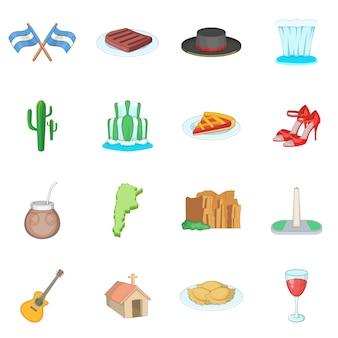 Conjunto de iconos de viaje argentina