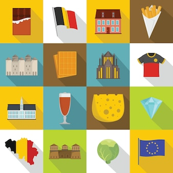 Conjunto de iconos de viaje bélgica, estilo plano
