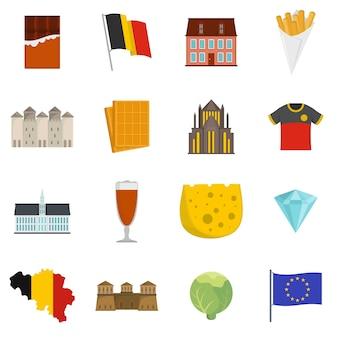 Conjunto de iconos de viaje bélgica