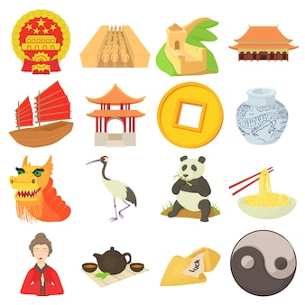 Conjunto de iconos de viaje de china
