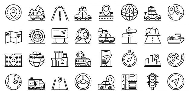 Conjunto de iconos de viaje en coche, estilo de contorno