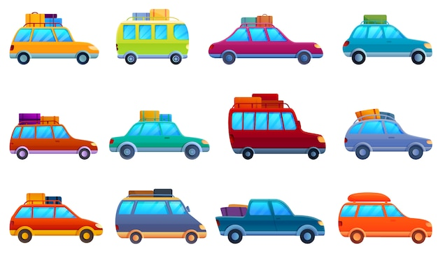 Conjunto de iconos de viaje en coche, estilo de dibujos animados