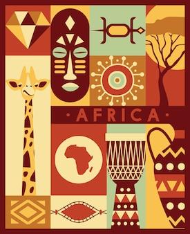 Conjunto de iconos de viaje de cultura étnica de la selva de áfrica