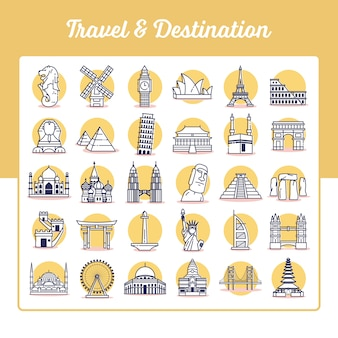 Conjunto de iconos de viaje y destino con estilo de contorno