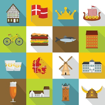 Conjunto de iconos de viaje de dinamarca, estilo plano
