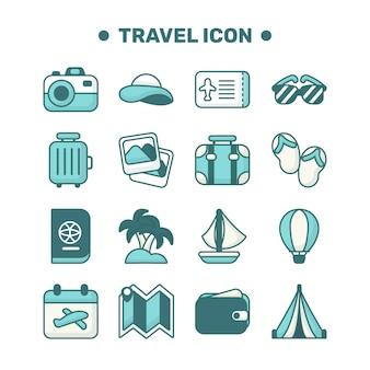 Conjunto de iconos de viaje con estilo de contorno