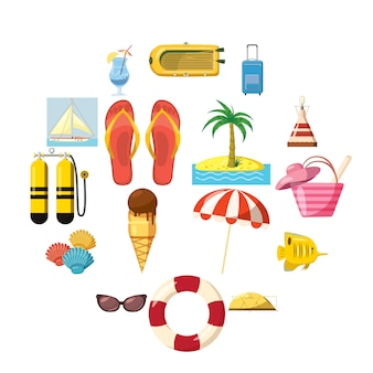 Conjunto de iconos de viaje, estilo de dibujos animados