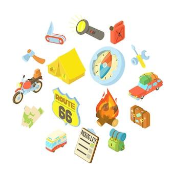 Conjunto de iconos de viaje, estilo isométrico