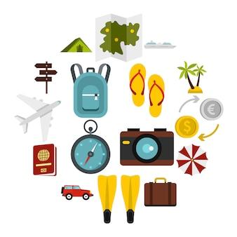Conjunto de iconos de viaje, estilo plano