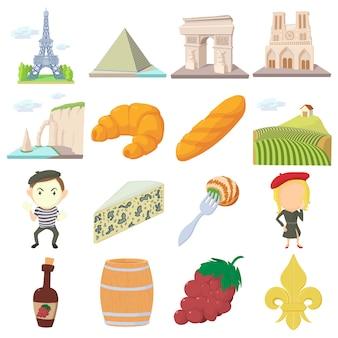 Conjunto de iconos de viaje de francia