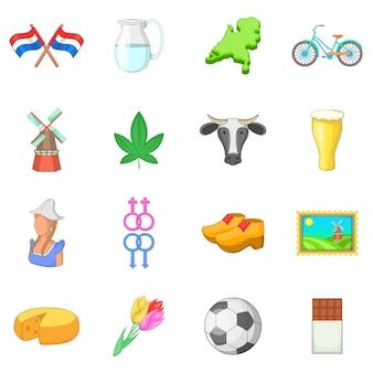 Conjunto de iconos de viaje holanda