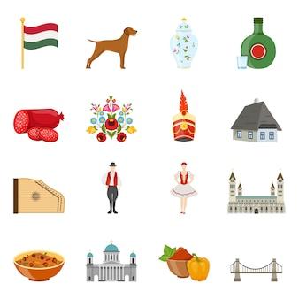 Conjunto de iconos de viaje de hungría