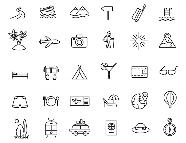 Conjunto de iconos de viaje lineal.