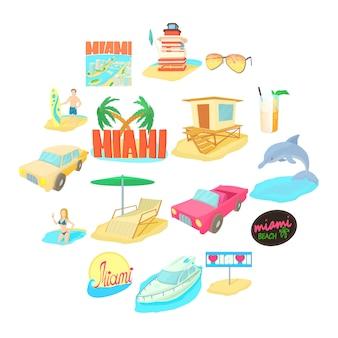 Conjunto de iconos de viaje de miami, estilo de dibujos animados