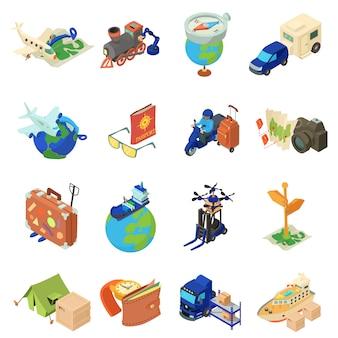 Conjunto de iconos de viaje mundial