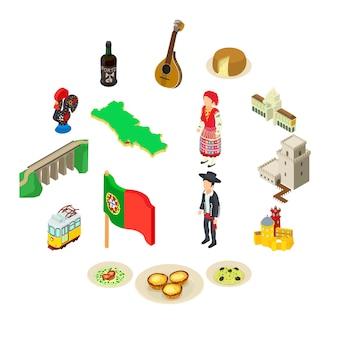 Conjunto de iconos de viaje de portugal, estilo isométrico